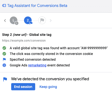Tag assistant for conversions