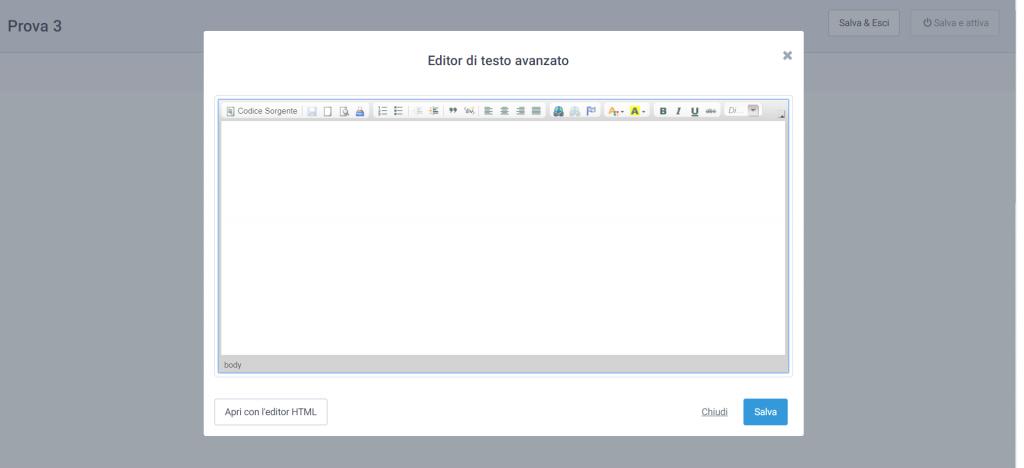 SendInBlue editor testo