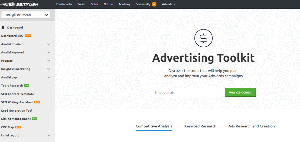SemRush advertising toolkit