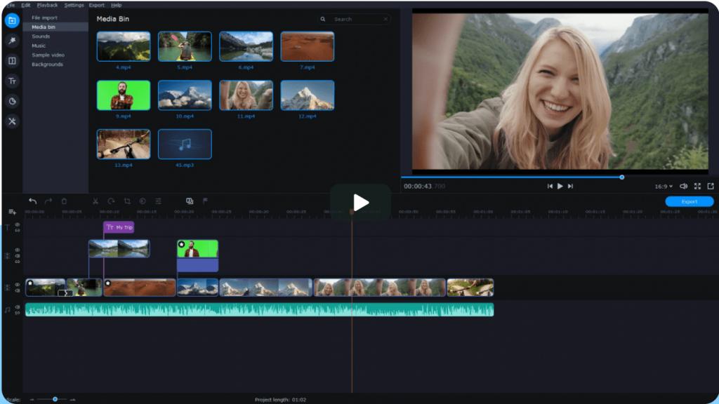 Editing video Movavi