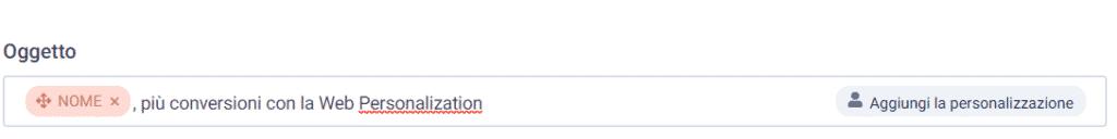 personalizzazione oggetto attributo nome SendInBlue