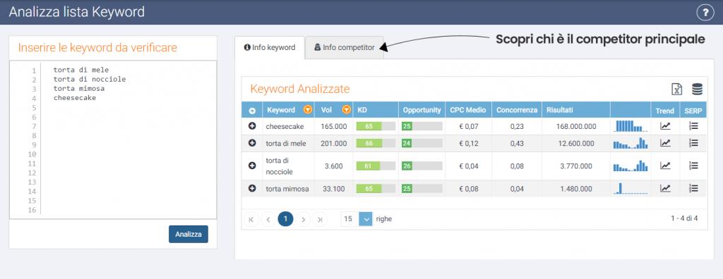 Analizza lista keyword SeoZoom