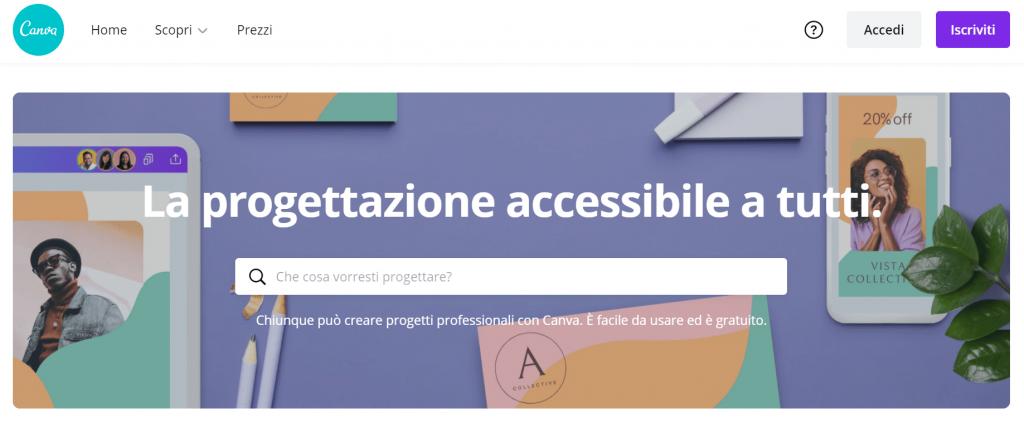 Canva Pro homepage