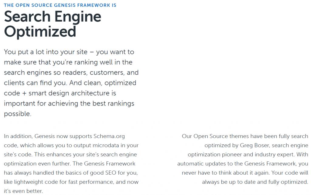 Genesis Framework Search Engine Optimized