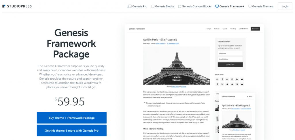 Genesis Framework homepage