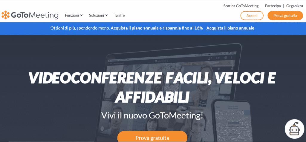 GoToMeeting homepage