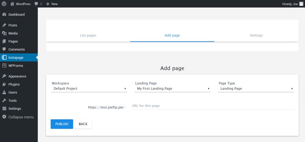 Instapage Pubblicazione di una Landing Page Instapage su un sito Web WordPress