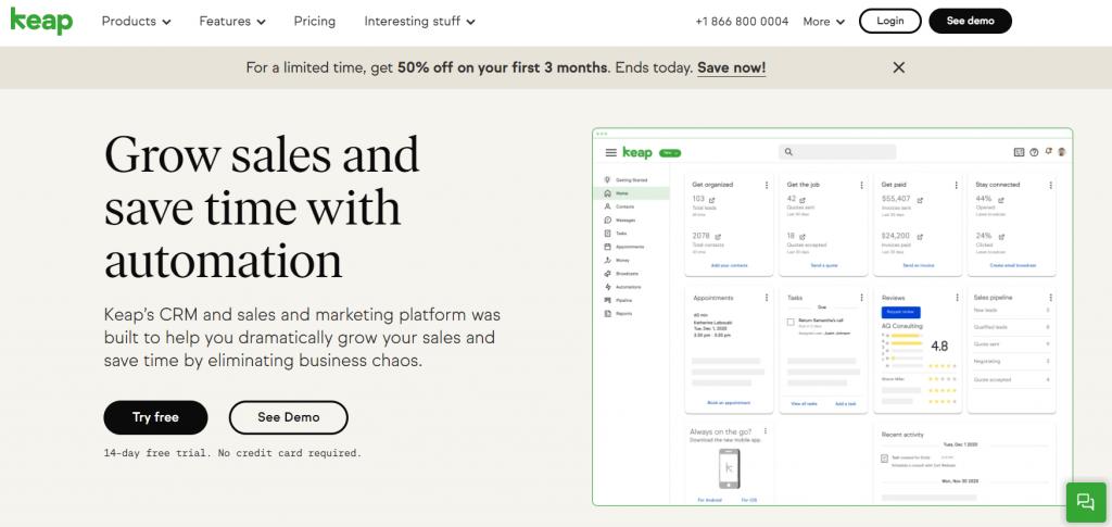 Keap InfusionSoft homepage