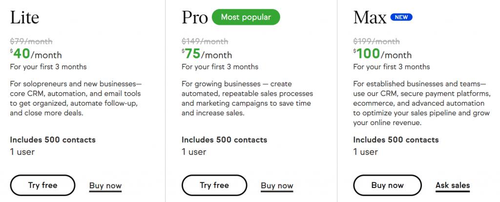 Keap  InfusionSoft prezzi