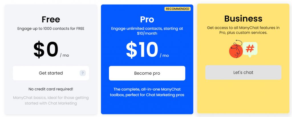 ManyChat prezzi