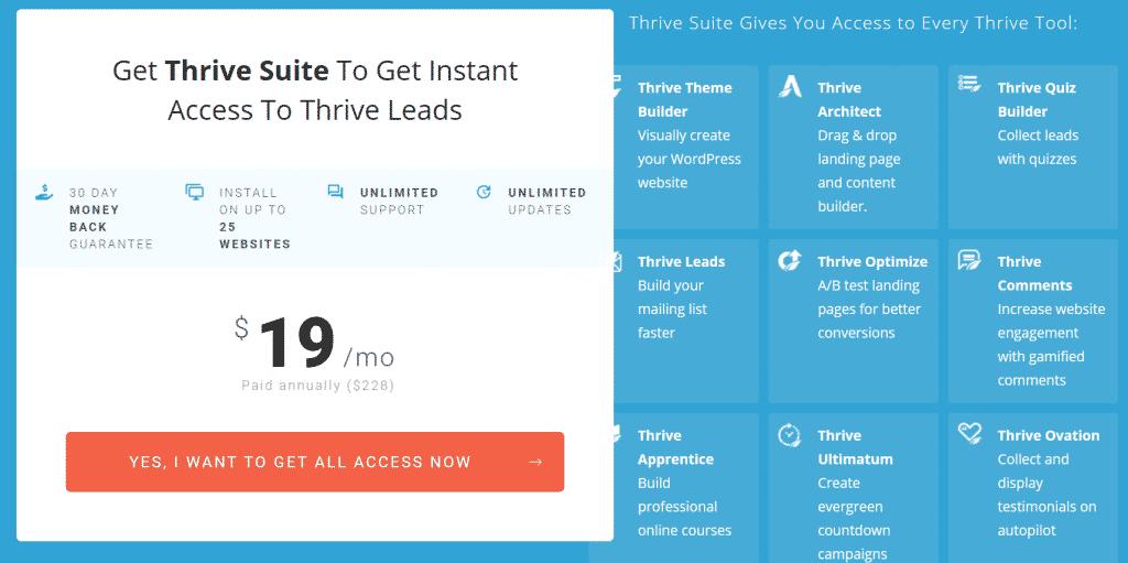 Thrive Leads prezzi