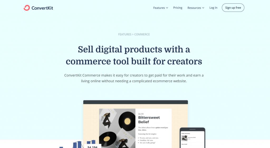 ConvertKit vendita di prodotti
